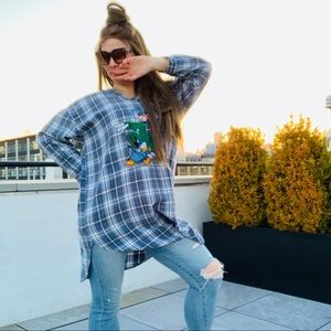 Disney Plaid Denim Blue Longer Hi-Lo Top Shirt Tee